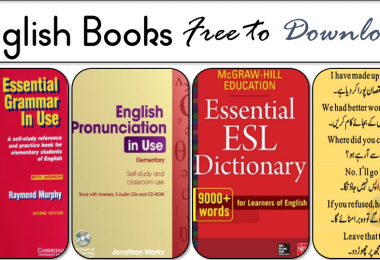 Get English Books for Grammar, Vocabulary, Sentences, Pronunciation.