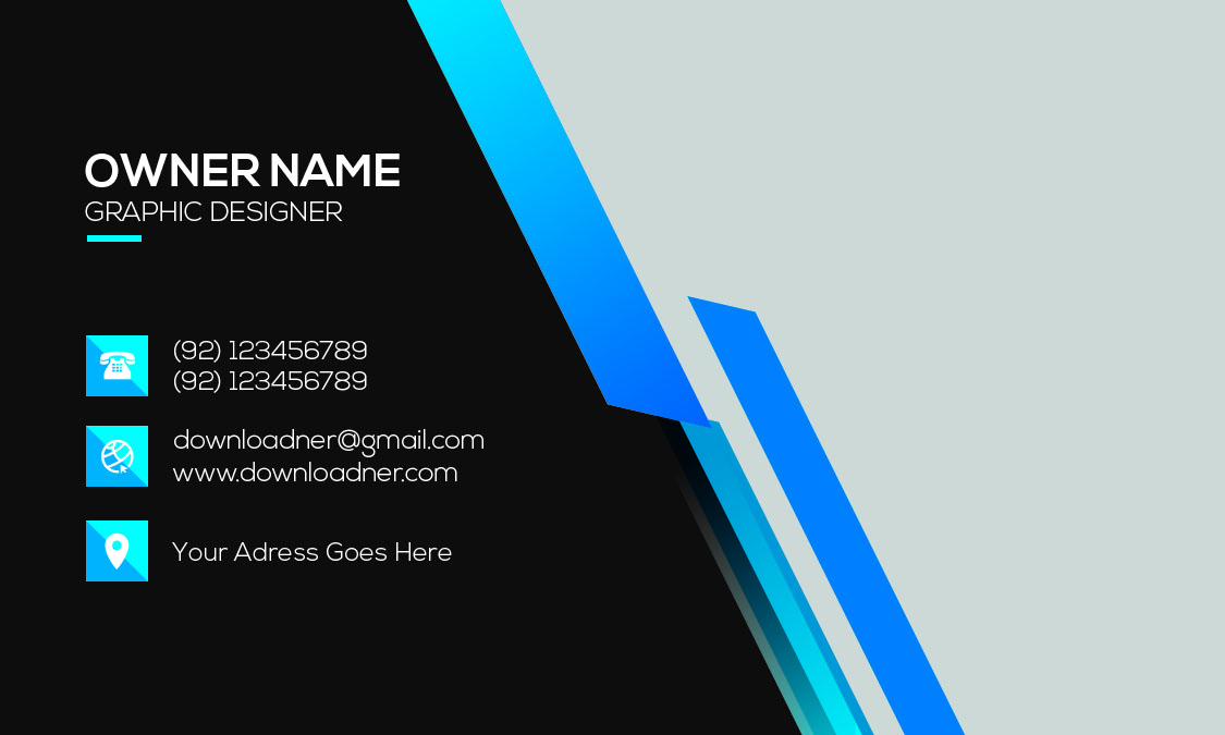 Black and Blue Business Card Front Photoshop Templates