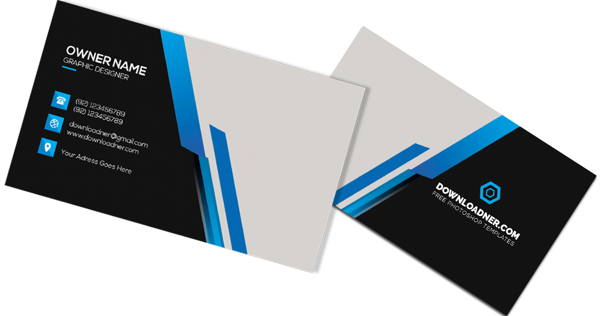 Black and Blue Business Card Photoshop Templates