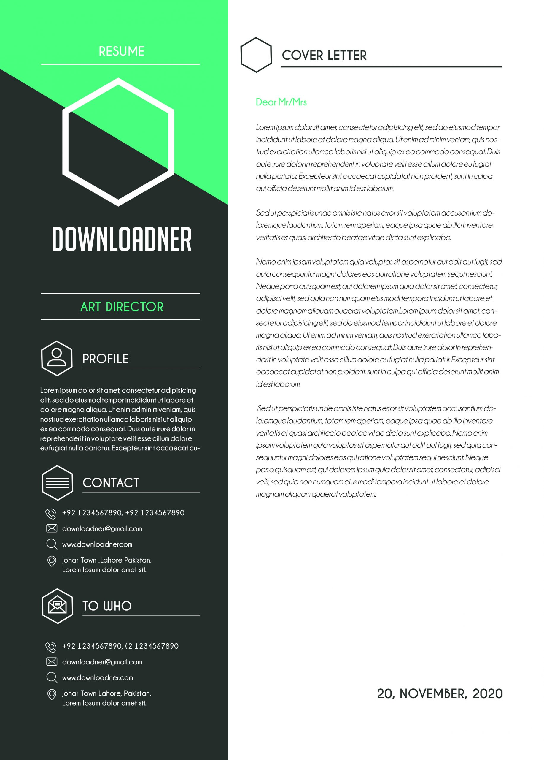 Black and White Cover Letter Template