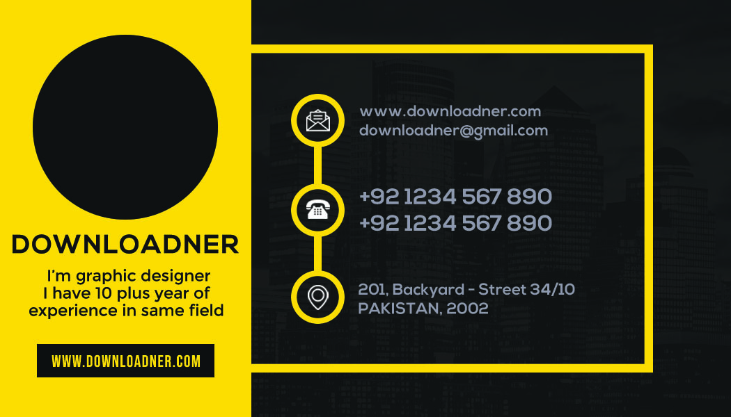 Graphic Designer Business Card Front Yellow and Black