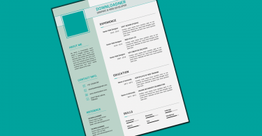Green and White Resume and CV Cover image