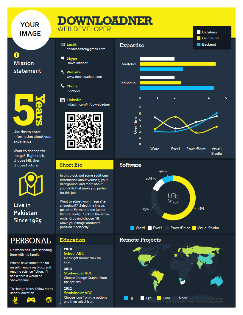 Infographic Yellow and Blue Resume Or CV