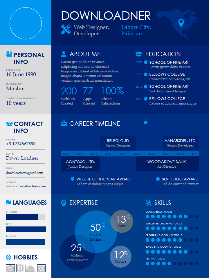 Infographics Blue and White Resume Template