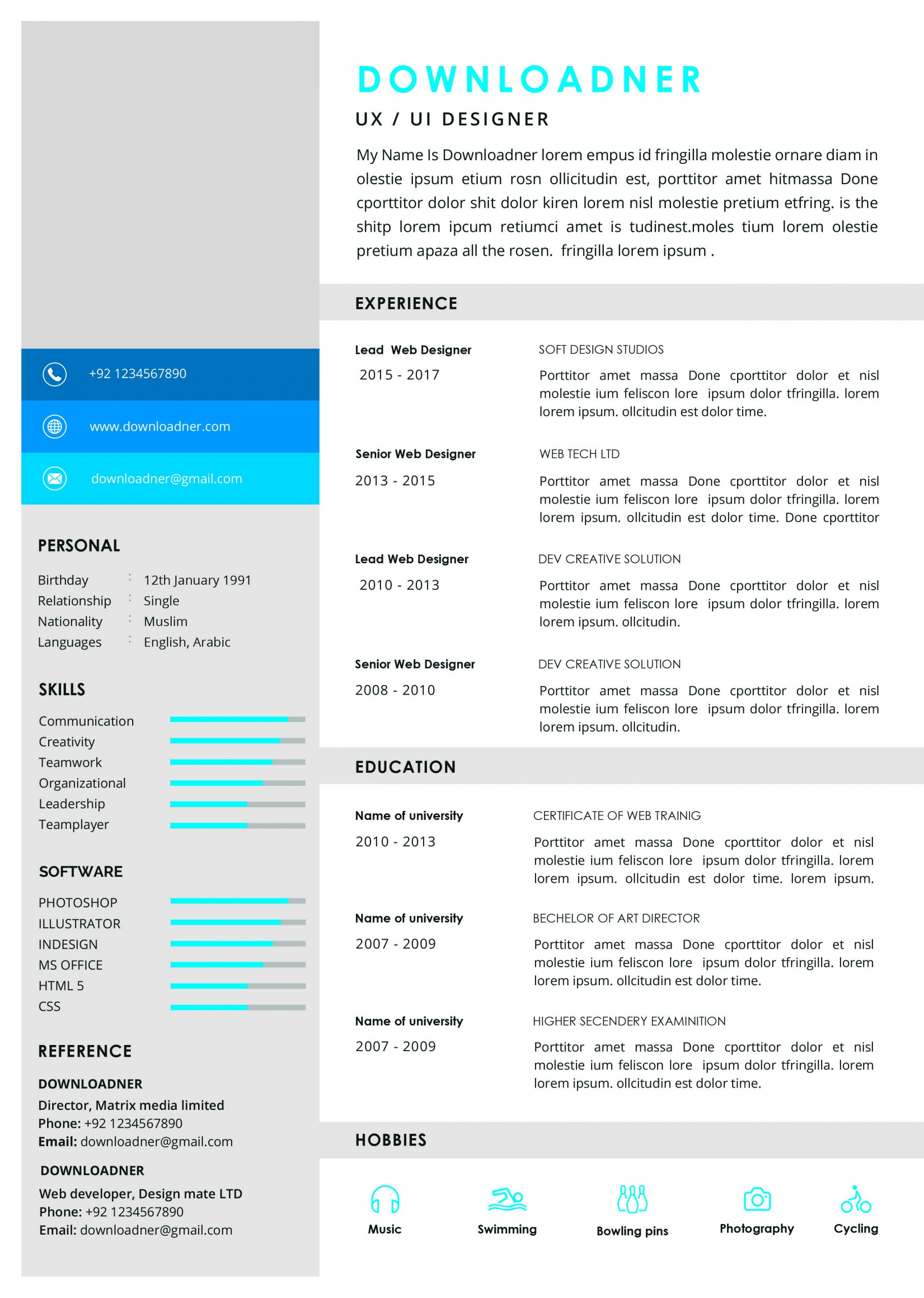 White and Blue Resume Template in PSD