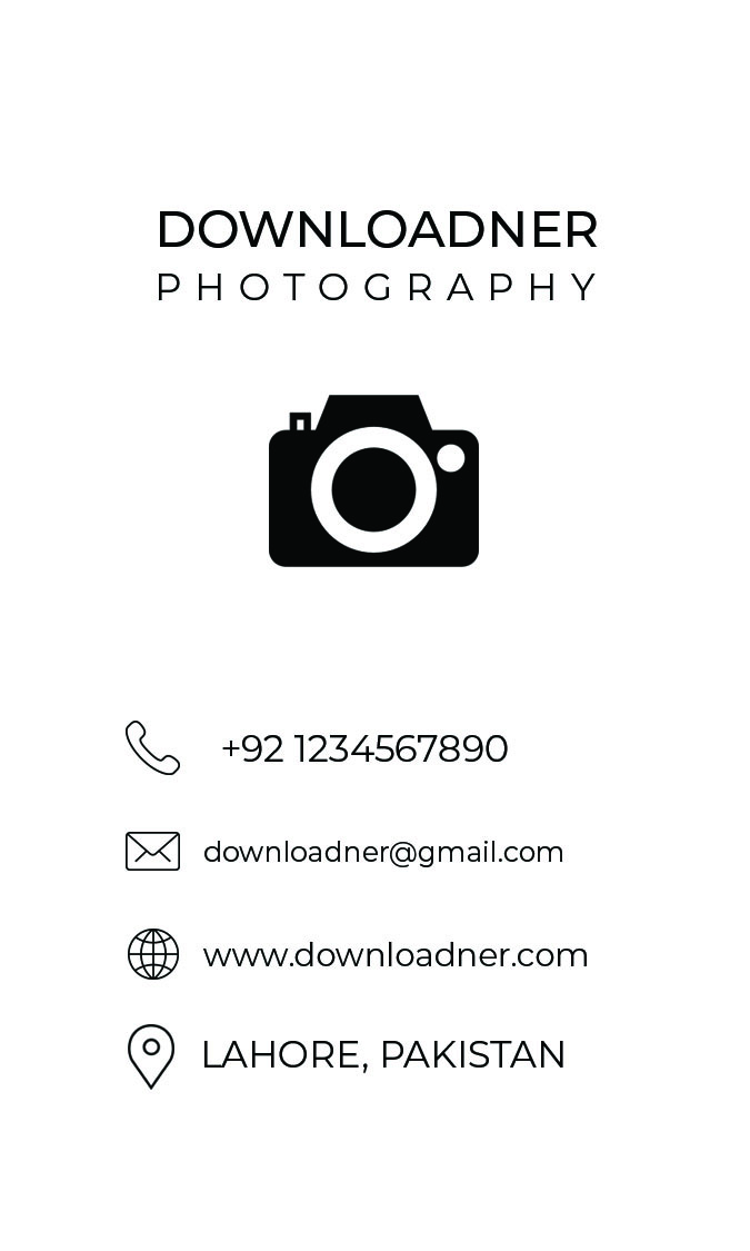 White Business Card Design For Photography Front
