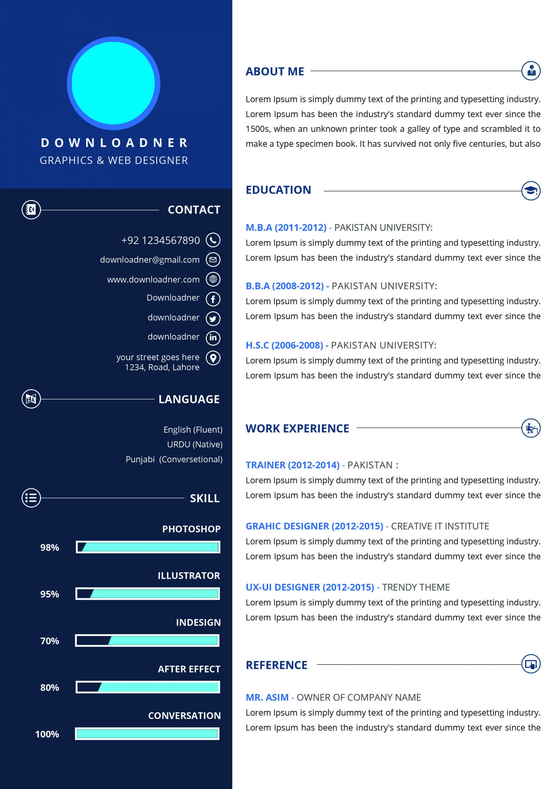 White and Blue Professional Resume PSD Template