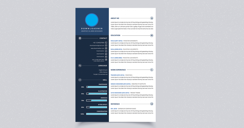White and Blue Resume PSD Template Cover image