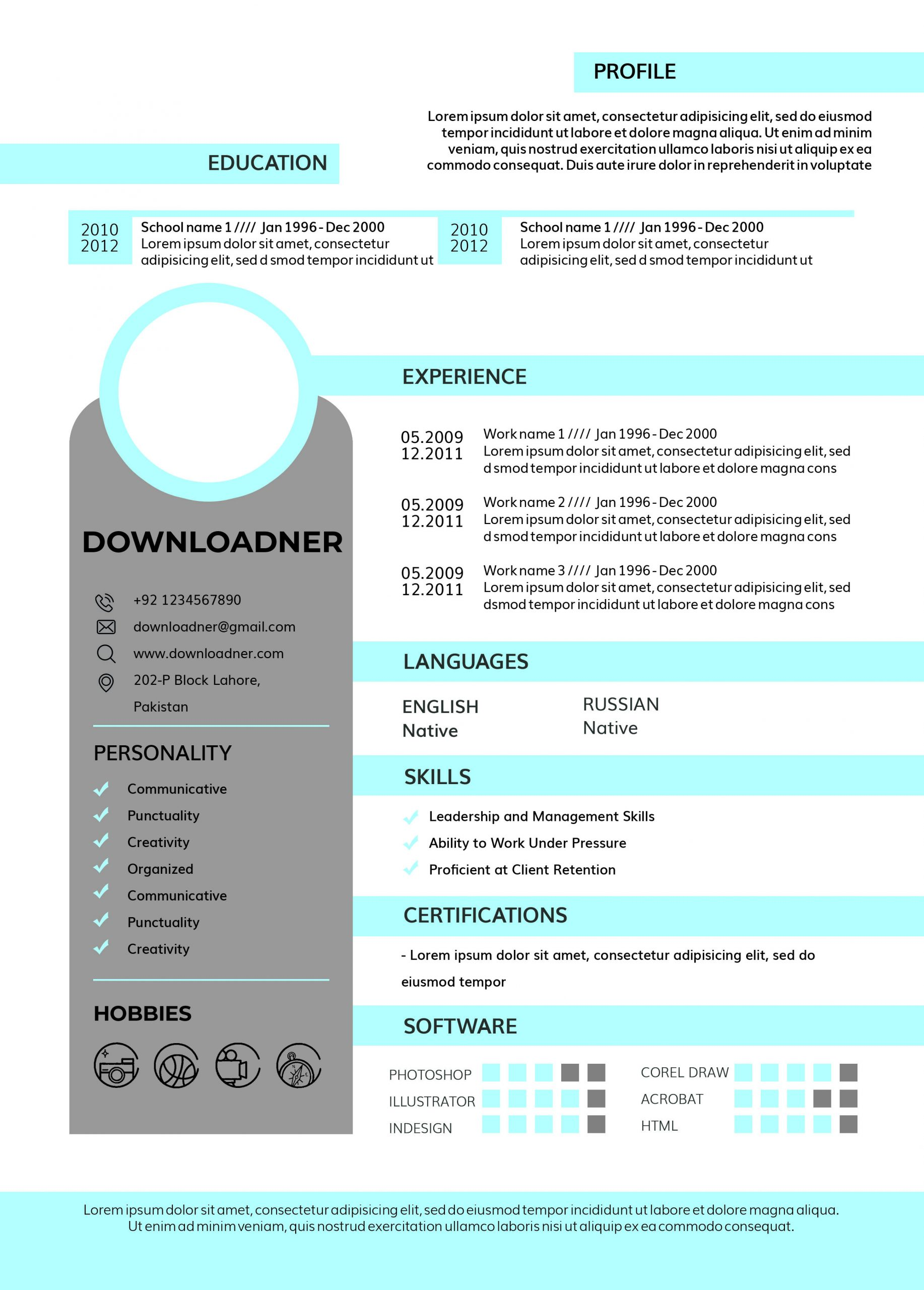 White and Blue Resume and CV Photoshop PSD