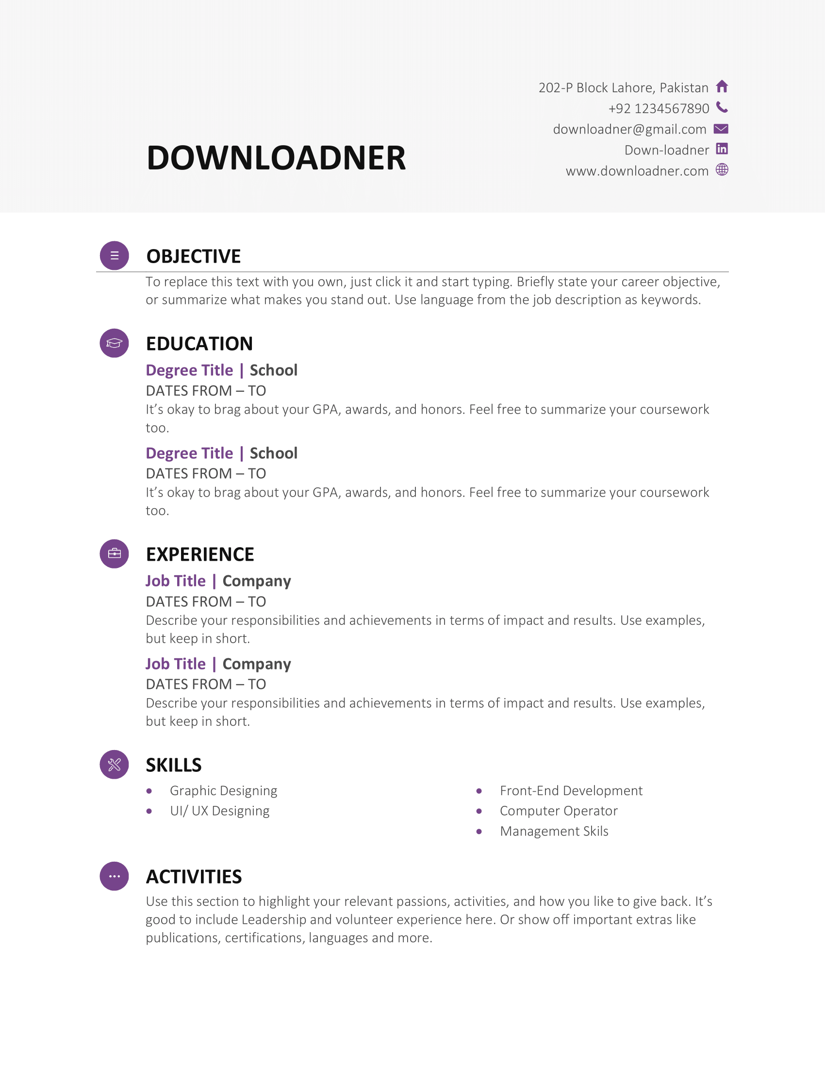 White and Pink Resume and Cv Template in MS Word