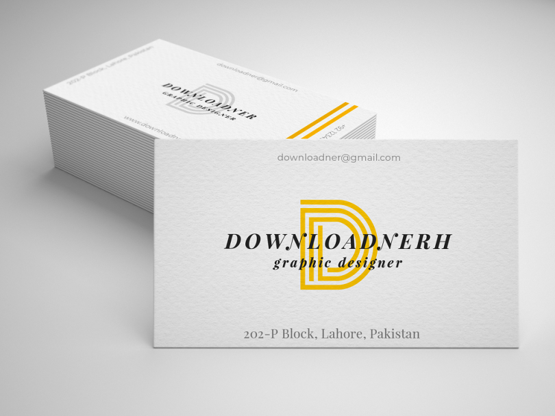 White and Yellow Mockup Business Card Cover