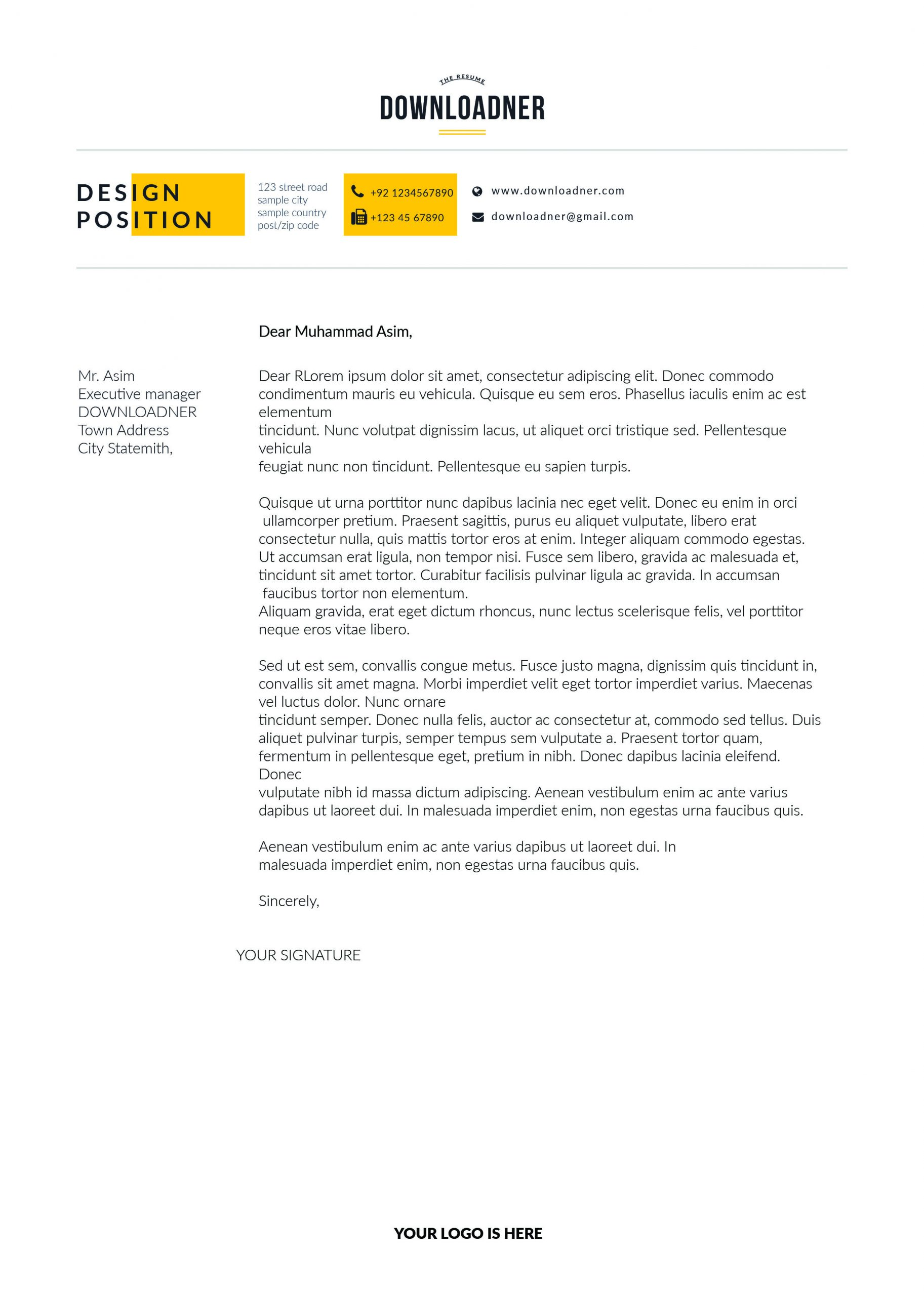 White and yellow Cover Letter
